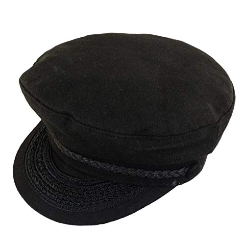 Jacobson Hat Company Black Wool Greek Fisherman Cap Large