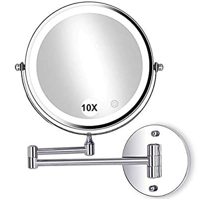 """8""""Wall Mounted Makeup Mirror with Lights LED 10x Wall Makeup Vanity Mirror Double Sided,Touch Button and Adjustable Light,Shaving Makeup in Bedroom or Bathroom,Powered by 4xAAA Batteries(Not Included)"""