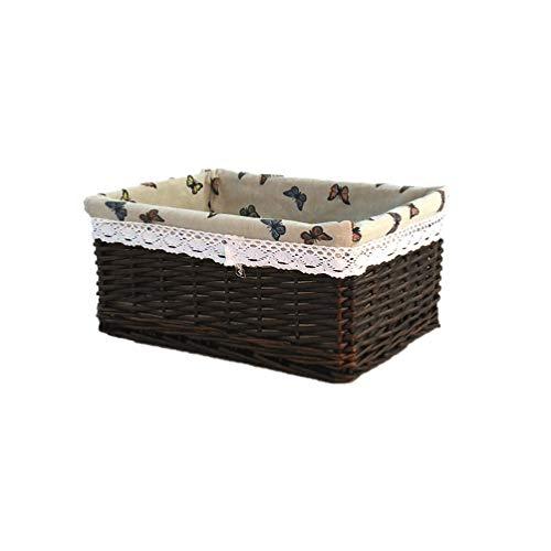 UPKOCH Cesta de mimbre rectangular para pícnic, con forro extraíble, cesta nido decorativa para dormitorio, baño, café oscuro, 40 x 30 cm