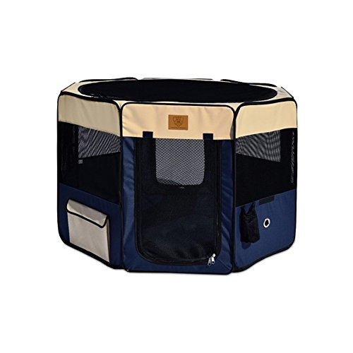 Big Sale Best Cheap Deals Precision Pet Soft Side Play Yard 46 in. x 46 in. x 28 in. Large Navy Tan