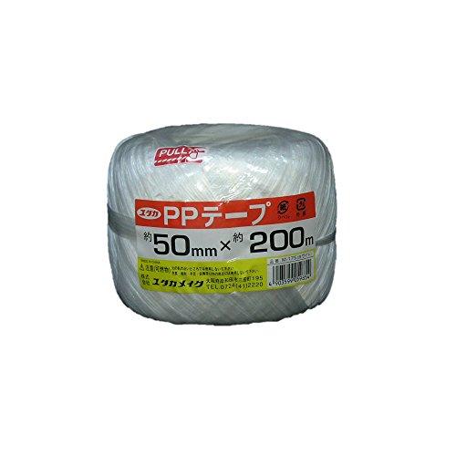 ユタカメイク PPテープ玉巻 ホワイト 50mm×200m M-175