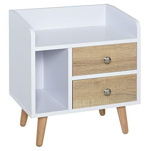 HOMCOM Nachttisch mit 2 Schublade, Erhöhter Nachtschrank, Mini Schlafzimmer Nachtkommode, Massivholz Beinen 43 x 30 x 49 cm
