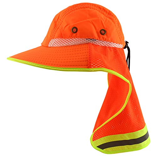 Trendy Apparel Shop High Visibility Solid Boonie Hat with Reflective Mesh Flap - Safety Orange