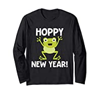 """This adorable frog happy new year design features a graphic or illustration of a hopping frog or toad and the slogan or phrase, """"Hoppy New Year!"""" Perfect for teachers and students to wear to elementary, mother's day out, preschool, or kindergarten. F..."""