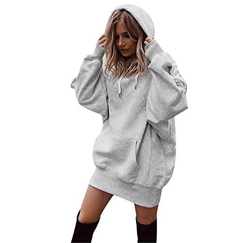 Xmiral Damen Sweatshirt Mode Baumwolle Einfarbig Kleidung Hoodies Kordelzug Pullover Mantel Lange Hoody (S,Grau)