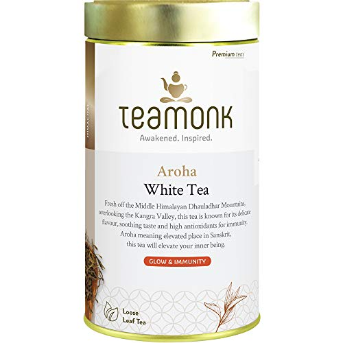 Teamonk Aroha Premium Himalayan Kangra White Tea Loose Leaf (37 Cups) | 100% Natural Tea | Powerful Antioxidant Tea Leaves for Glowing Skin | Immunity Boosting Tea | No Additives - 2.6 oz