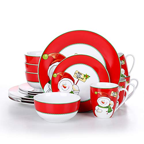 VEWEET Series SANTACLAUS, 18-Piece Porcelain Stoneware Dinnerware Set, Service for Christmas, Tableware Plate Set with Dessert Plate, Soup Plate and Dinner Plate, Combination Service for Christmas