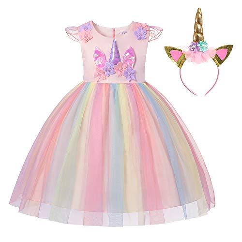 Muababy Baby Girl Unicorn Costume Pageant Flower Princess Party Tutu Dress with Headband (5-6 Years, 1423C Shrimp Pink)