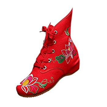 KINDOYO Womens Mary Jane Wedge Shoes - Dance Chinese Traditional Boots Winter Red