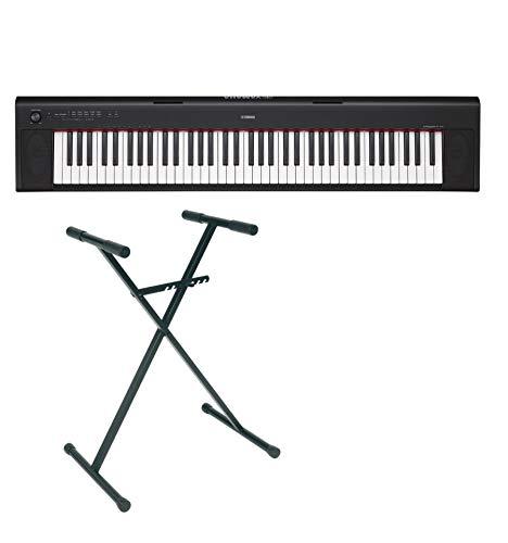 Yamaha - Set pianoforte digitale NP-32 con supporto a X, 76 tasti, colore: nero