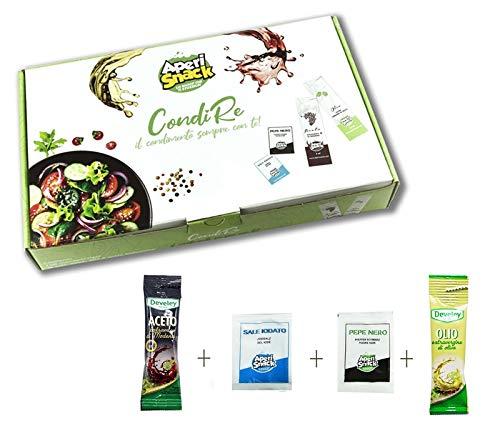 Aperisnack® - AP20.001.02 Condimento per Insalate 50 Kit (200pz) bustine di Sale, Pepe, Olio e Aceto balsamico Modena IGP Develey monodose