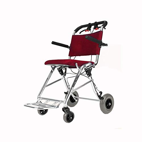 MTG Wheelchair Folding Lightweight Boarding Available Solid Tire Armrests Transport Portable Aluminum Alloy Elder armres/Red