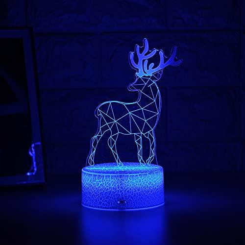 Luz De Noche Para Chico, Luz De Noche Led 3D, Lámpara Creativa De Mesita De Noche, Luz De Alce Romántica, Decoración Del Hogar Para Niños, Linterna De Regalo