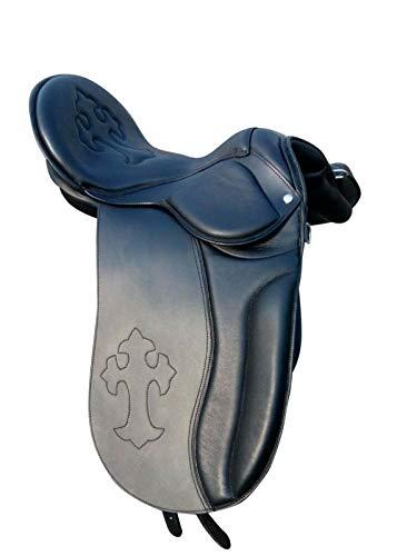 Leather Ride Silla de montar inglesa nueva calidad de cuero negro doma sin árbol silla de montar en