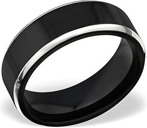 Amanto Anillo Ayaz 57, de acero 316L, 8 mm, tamaño 57-18,2 mm