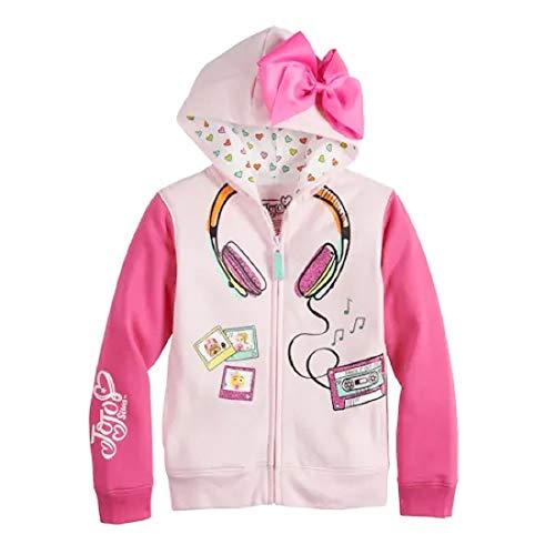 Jojo Siwa Girls' Big Headphones 3D Bow Zip-Up Hoodie Jacket, Light Pink/Hot Pink, XL-16
