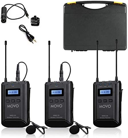 Movo WMX 20 DUO 48 Channel UHF Wireless Lavalier Microphone System with 1 Receiver 2 Transmitters product image