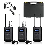 Movo WMX-20-DUO 48-Channel UHF Wireless Lavalier Microphone System with 1 Receiver, 2 Transmitters, and 2 Lapel Microphones Compatible with DSLR Cameras (330' ft Audio Range)