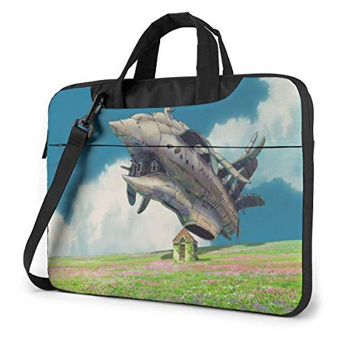 Hdadwy 14-Zoll-Laptop-Ärmeltasche, Howls Moving Castle Tablet Aktentasche Ultra Portable Schutzschulter Stoßfeste Laptop-Leinwandabdeckung MacBook Pro/Notebook