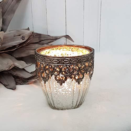"""Windlicht """"Agadir"""" – Bauernsilber – Teelichthalter orientalisch - Höhe 9 cm"""