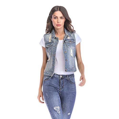Jitong Distressed Gilet Jeans Corto Donna Bottoni Senza Maniche Strappato Cappotto Giacca in Denim (Azzurro, Asia 2XL)