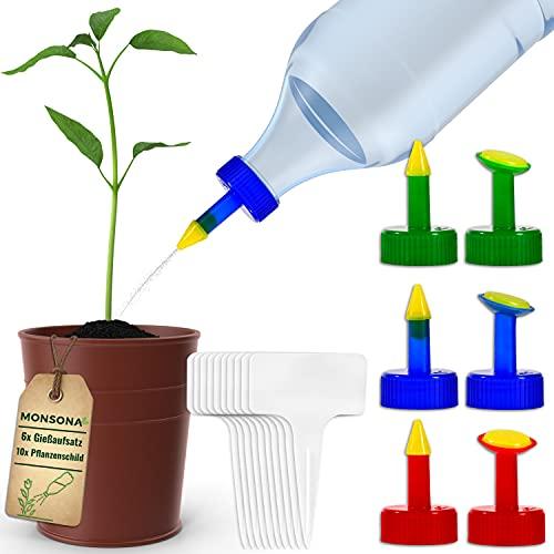 MONSONA® Gießaufsatz für Flaschen | inkl. 10x kostenlose Pflanzenschilder | Schonende Bewässerung zur Anzucht Ihrer Pflanzen & Blumen (28mm)