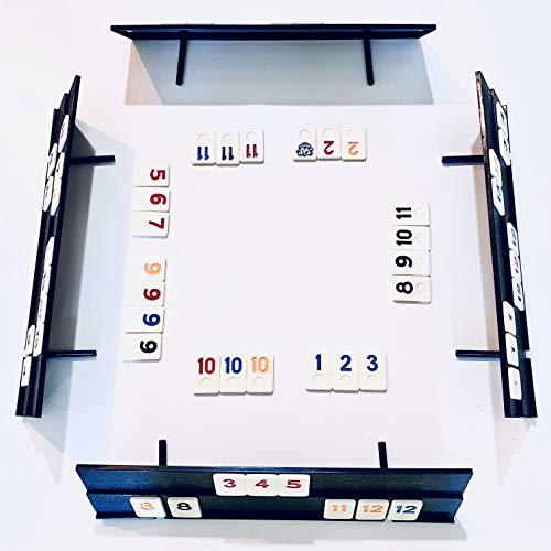 Luxe Dominoes Rummy Tiles Game 106 Tiles Rummy Game  4 Durable FullSize Racks Black Travel Case for Easy Carrying