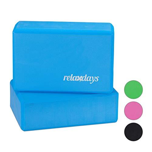 Relaxdays Unisex– Erwachsene, Blau Yogablock im 2er Set, Klötze f Übungen, Hartschaum, rutschfest, Yoga-Würfel HBT 8x23x15 cm