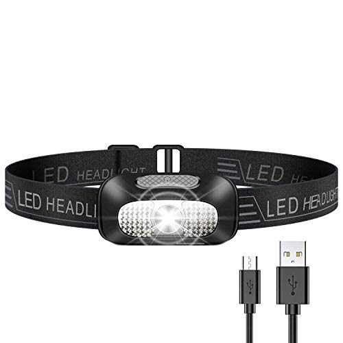 Stirnlampe LED, Leichtgewicht Kopflampe, Superheller USB Wiederaufladbare Wasserdicht Stirnleuchte für Camping, Fischen, Laufen, Joggen, Wandern, Lesen, Arbeiten