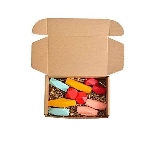 QiKun-Home Piedra de Equilibrio de apilamiento de Colores de Madera Creativa, Juego de arcoíris de Piedra de Colores de Madera para niños, Juguete Educativo de Madera, Colorido Nuevo