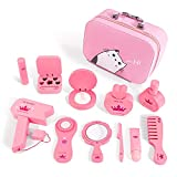 Ksasmile Kids Toys, Girls Makeup Kit for Kids- Play Makeup for Little Girls, Durable Wooden Kids Makeup Set with Stylish Bag(12Pc)