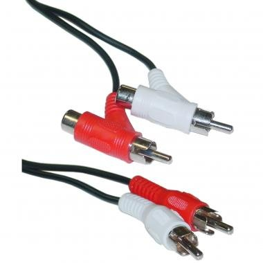 Blacell RCA Audio Piggyback Cable, 2 RCA Male to 2 RCA Male + RCA Female Piggyback, 6 Foot