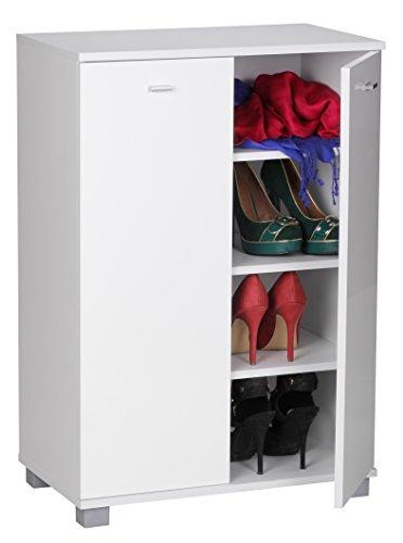WOHNLING WL1.348 Armoire à Chaussures 2 Portes avec Face laquée pour 12 Paires Blanc 60 x 90 x 35 cm