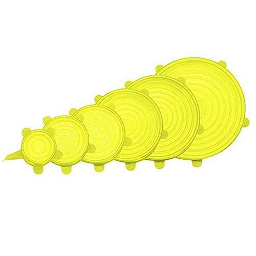 Erduo 6 Pezzi Coperchio per conservare Il Fresco Resistente al Calore per Forno a microonde Coperchio per Ciotola in Silicone Coperchio per stoviglie Pellicola Estensibile-Giallo