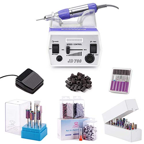 Nail Drill Manicure Tools Bundle, Electric Nail Drill Machine, Nail Drill Bits Set, Nail Drill Sanding Bands Set and Nail Drill Bit Holder