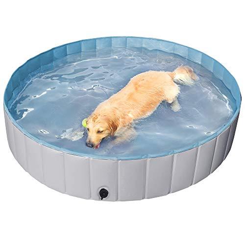 Yaheetech Hundepool für Hunde, Swimmingpool 100/120/140/160 x 30 cm, Hund Planschbecken Schwimmbecken, Faltbarer Pool Badewanne Wasserbecken, Klappbares Haustier-Duschbecken