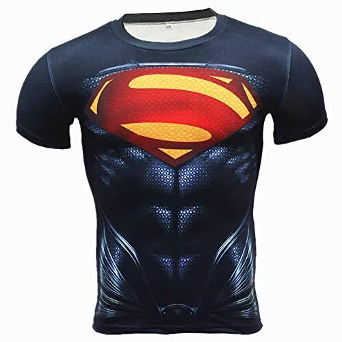 COJETER Super Man Manica Corta Compressione Sport Allenarsi Uomini Palestra Fitness Stretto Supereroi Maglietta