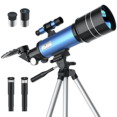 Telescopio Astronomico, 70mm Portatile Telescopio Rifrazione per Bambini Principianti Adulti, Facile da Montare e da Usare, Osservare Paesaggio Astronomico, con Treppiede Regolabile Stabile(Blu)