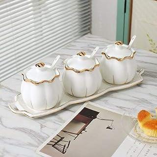 Dinnerware Sets - Eúrópean Seasóning Jar Creative Ceramic Seasóning Bóx Seasóning Bóttle Canned Salt Bóttle Three-piece Se...