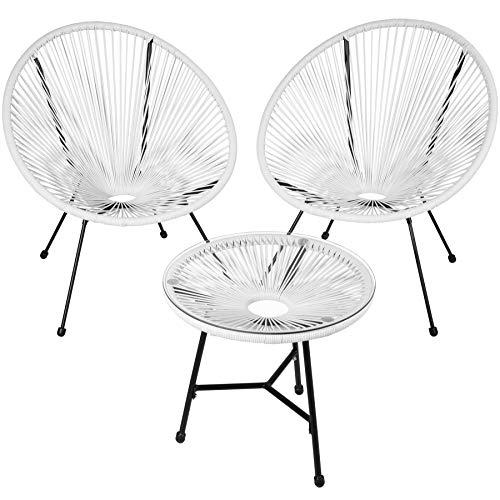 TecTake 800730 2er Set Acapulco Garten Stuhl mit Tisch, Lounge Sessel im Retro Design, Indoor und Outdoor, pflegeleicht, Relaxsessel zum gemütlichen Sitzen - Diverse Farben - (Weiß | Nr. 403308)