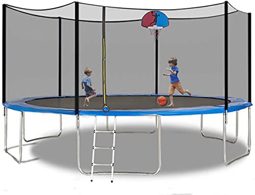AMGYM 15 FT Trampoline Safety Enclosure Net Combo Bounce Jump for Kids Outdoor with Spring Pad Ladder with Basketball Hoop