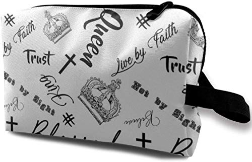 Blessed_670 Portable Drawstring Cosmetic Bag Leather Cosmetic Train Case Organizer Nylon New Rose...