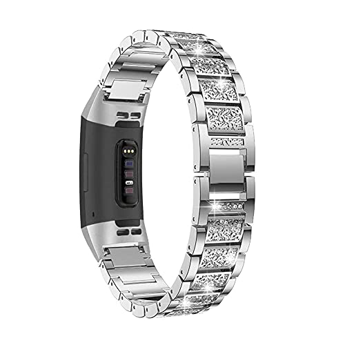 AISPORTS Compatible con Fitbit Charge 3/Fitbit Charge 4 Correa para mujer, Crystal Bling Glitter Diamond Jewelry Pulsera deportiva ajustable correa de repuesto para Fitbit Charge 3/4