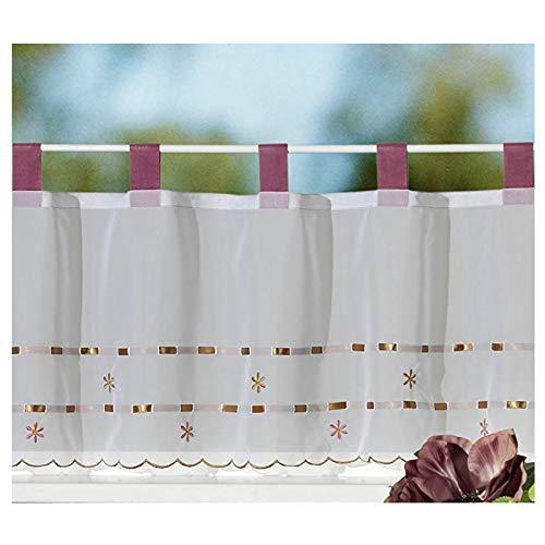 Gardine Scheibengardine FRÜHLING modernes Schlaufen-Bistro chic bestickt mit Blumen in rosé perlmutt HxB 45x150 cm - Vorhang in geprüfter Top Qualität - sehr schöner Fall…auspacken, aufhängen, fertig! Typ211