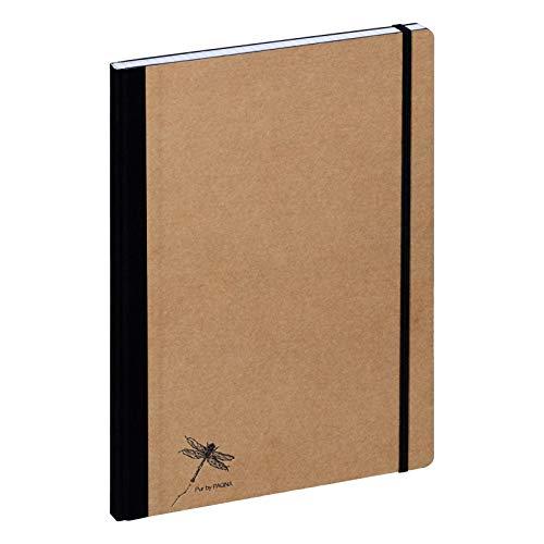 Pagna Notizbuch A4 Pur, recycelbarer Kraftpapiereinband mit Prägung, 192 Seiten kariertes Papier
