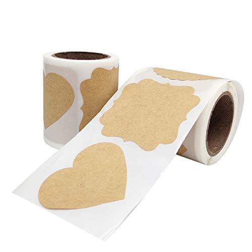 Selbstklebend Kraftpapier Sticker, 500 Aufkleber-Etiketten, Wiederverwendbar Tafelaufkleber für Hochzeit Flaschen Einladungen Tischdeko Geschenke Organisieren (4 Größen)