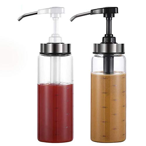 Botellas para Exprimir Salsa, Paquete de 4 Botellas de Vidrio dispensador de Aceite de Oliva de 300 ml, sin Goteo, sin Plomo, aderezo para ensaladas, prensador de Aceite de Miel
