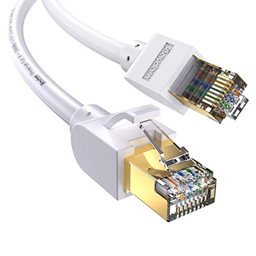 Jeavdarn Cavo Ethernet Cat 8, Cavo LAN 15 Metri 40Gbps 2000Mhz Alta velocità Cavo di Rete S/FTP con connettori RJ45 per PC, PS4, Modem, Router, Xbox, Compatibile Cat 7 Cat 6 Bianco