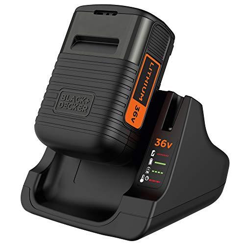 Black+Decker Li-Ion-Ergänzungsakku (2,0Ah, für 36V Geräte inkl. Schnell-Ladegerät, Volle Aufladung in 90min und Ladezustandsanzeige) BDC2A36
