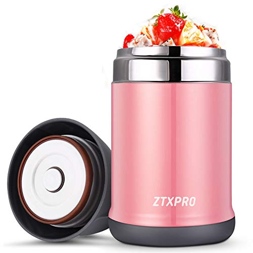 Insulated Lunch Container Soup Thermos Food Jar for Kids ZTXPRO Stainless Steel Hot & Cold Vacuum Box with Handle 16 oz Leak Proof Bento Lunch Box for Kids School Picnic Office Outdoors Pink